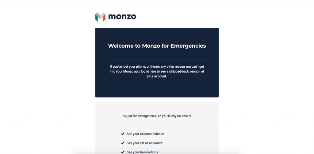 Monzo for emergencies website ux design