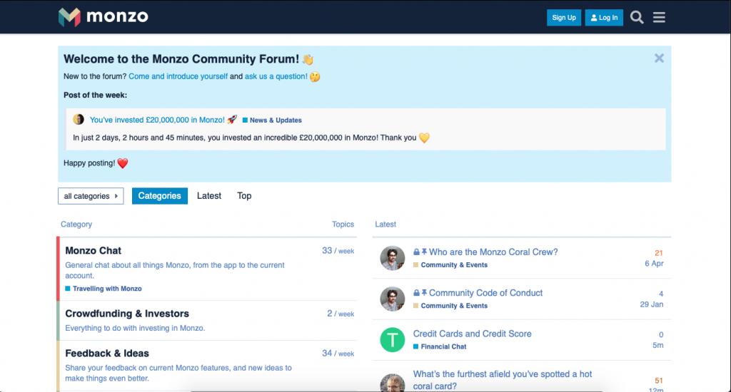 the monzo community ux design