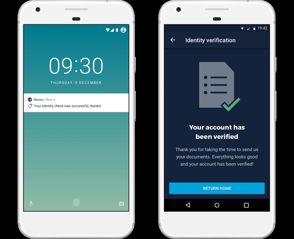 Monzo account verification UX design page