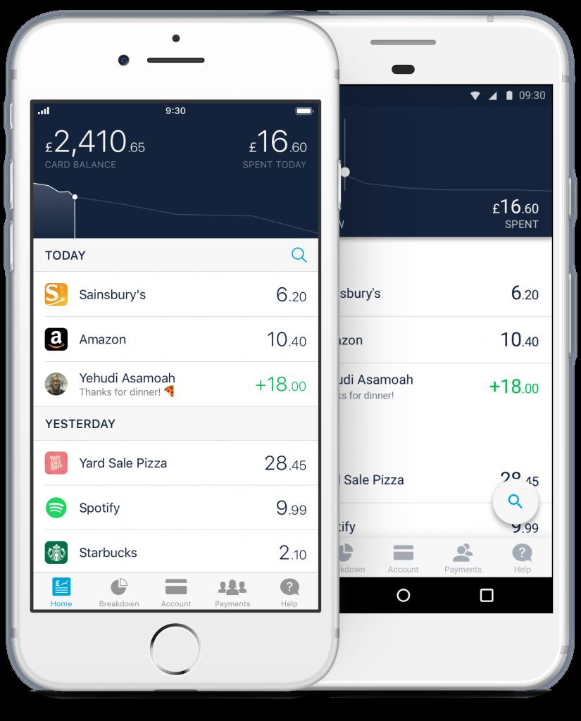 Monzo home screen feed UX design